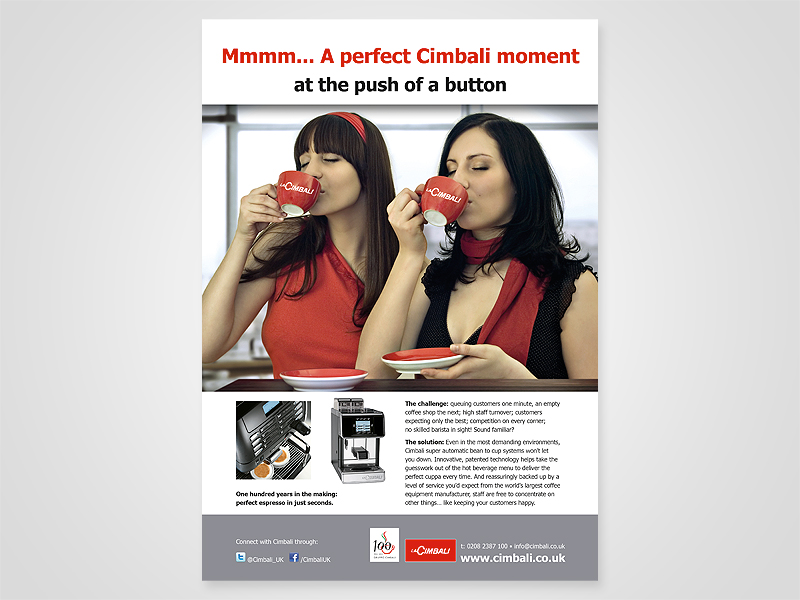 La Cimbali 'Perfect Cimbali Moment' Advert Design and Print Advertising