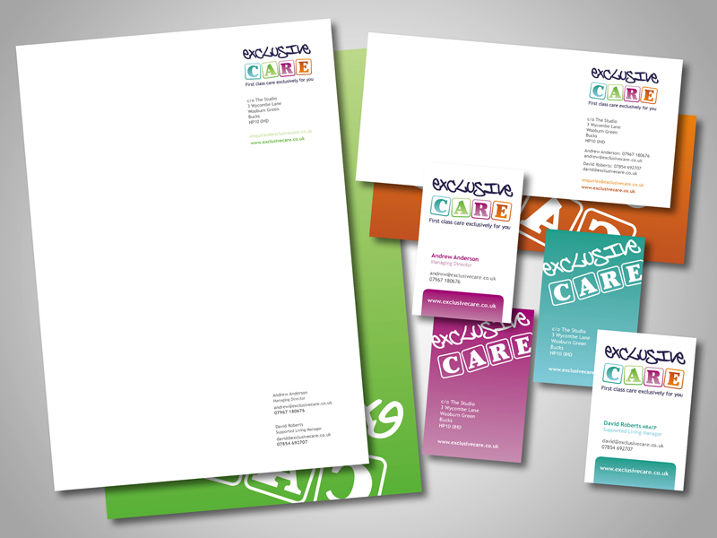 Exclusive Care Company Stationery Design and Business Branding