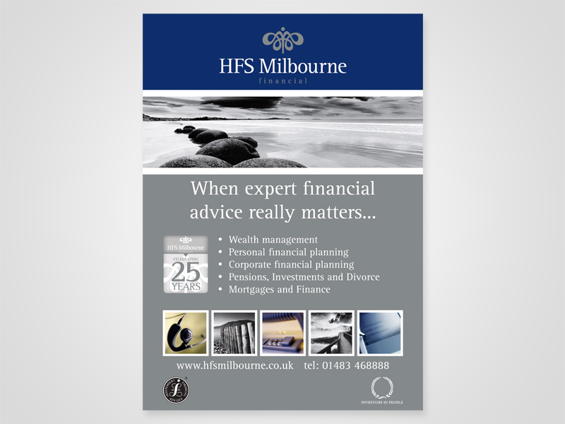 HFS Milbourne 'Financial Experts' Advert Design and Print Advertising