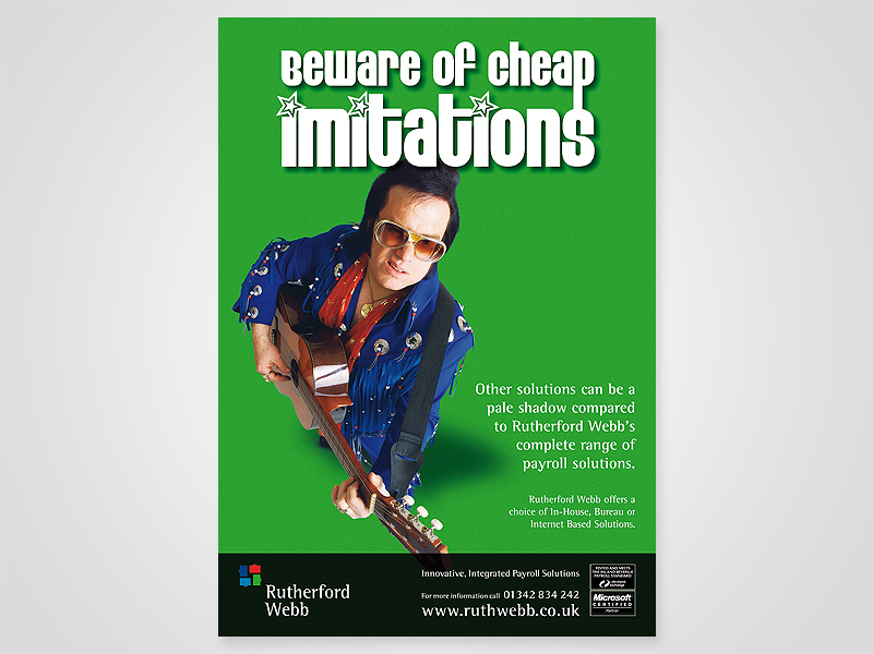 Ruthorford Webb 'Cheap Imitations' Advert Design and Print Advertising