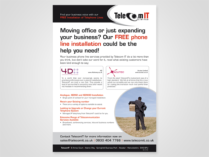 TelecomIT 'Moving Office' Advert Design and Print Advertising