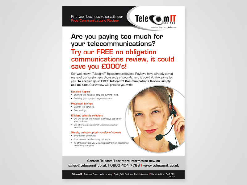 TelecomIT 'Telecommunications' Advert Design and Print Advertising