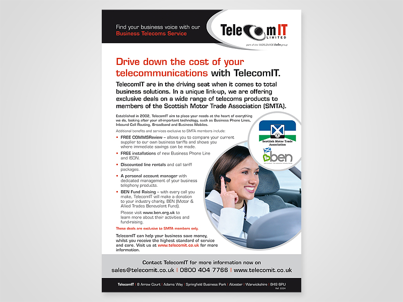 TelecomIT 'Scottish Motor Trade' Advert Design and Print Advertising