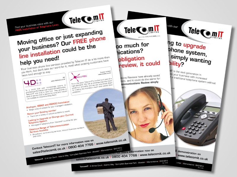 TelecomIT Company Marketing Inserts and Brochure Design