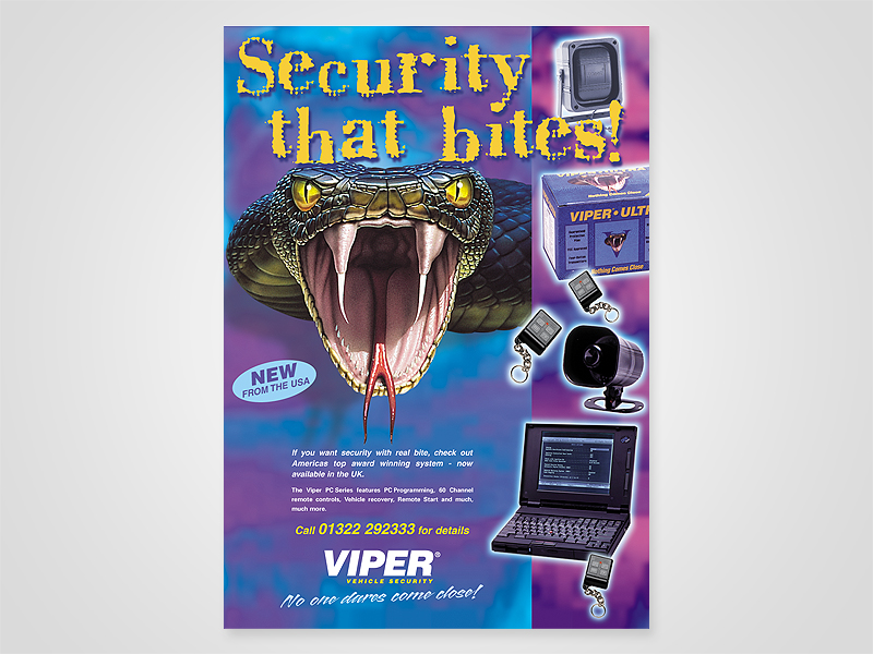 Viper 'Security that Bites' Advert Design and Print Advertising