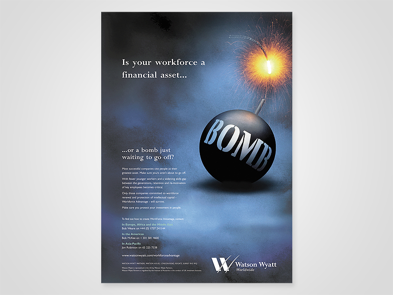 Watson Wyatt 'Bomb' Advert Design and Print Advertising