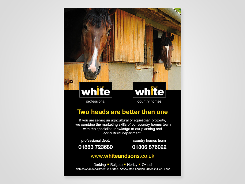 White and Sons 'Two Heads' Advert Design and Print Advertising