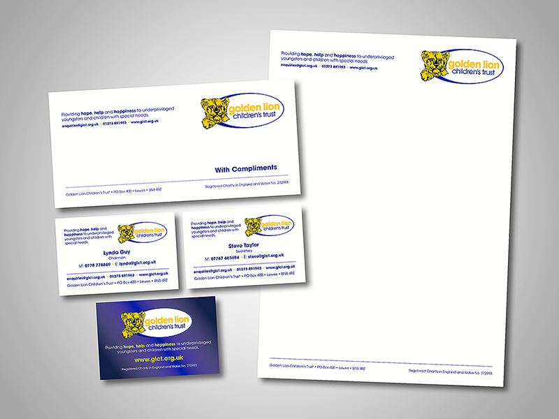 Golden Lion Children's Trust Company Stationery Design and Business Branding