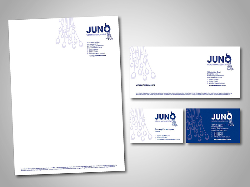 Juno Wealth Management Company Stationery Design and Business Branding