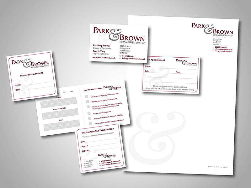 Park and Brown Optometrists Company Stationery Design and Business Branding