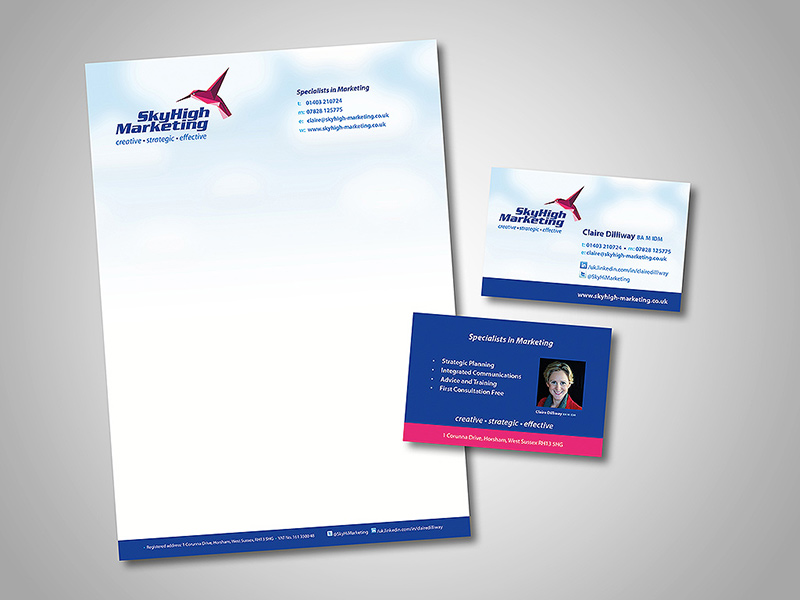 Sky High Marketing Company Stationery Design and Business Branding