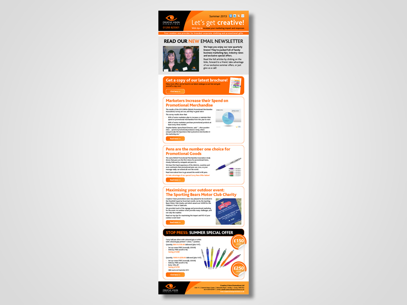 Creative Vision Promotions Email Marketing / eMarketing Campaign