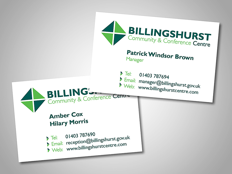 Billingshurst Centre Company Stationery Design and Business Branding