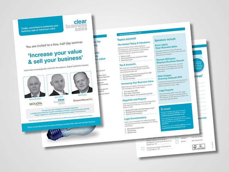 Clear Business Sales 'Seminar Invite' Direct Mail Design