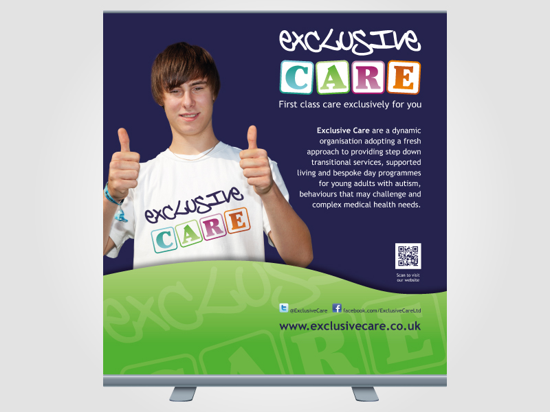 Exclusive Care Exhibition Roller/Pull Up Banner Design