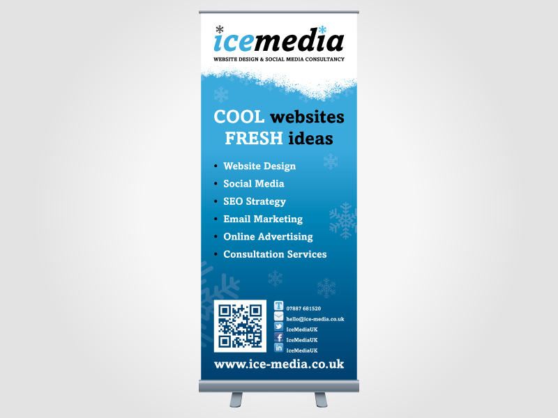 Ice Media Exhibition Roller/Pull Up Banner Design