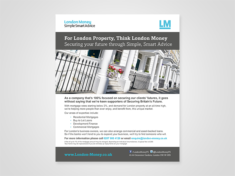 London Money Advert Design and Print Advertising