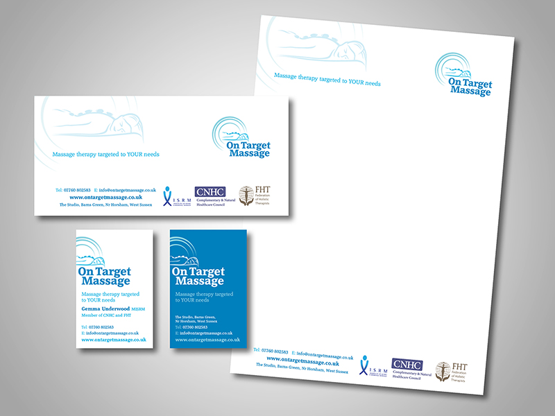 On Target Massage Company Stationery Design and Business Branding