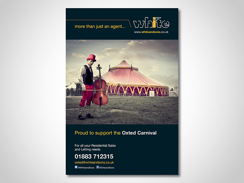 White and Sons 'Carnival' Advert Design and Print Advertising