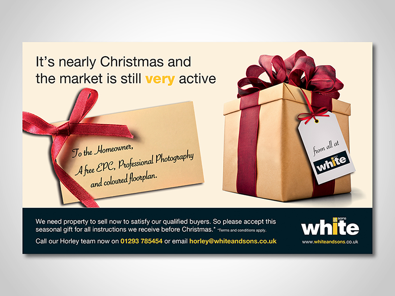 White and Sons 'Active Christmas' Advert Design and Print Advertising