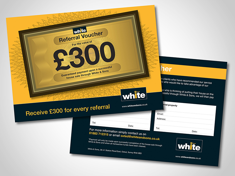 White and Sons '£300 Referral 'Direct Mail Design and Marketing