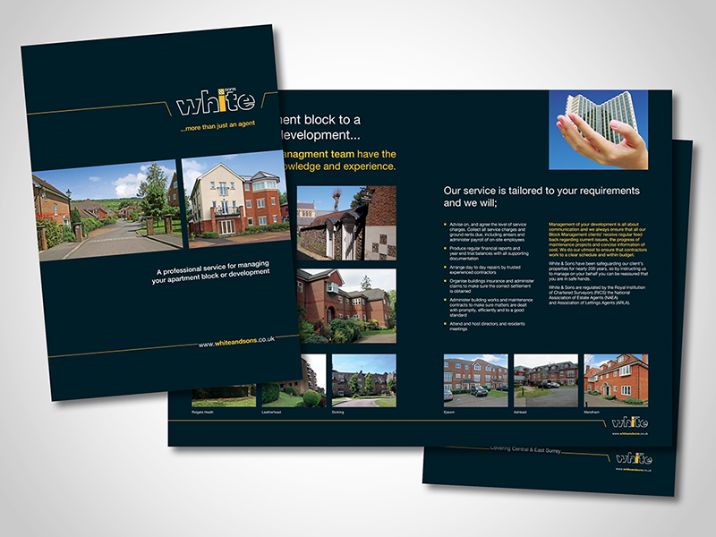 White and Sons 'Block Management' Brochure Design