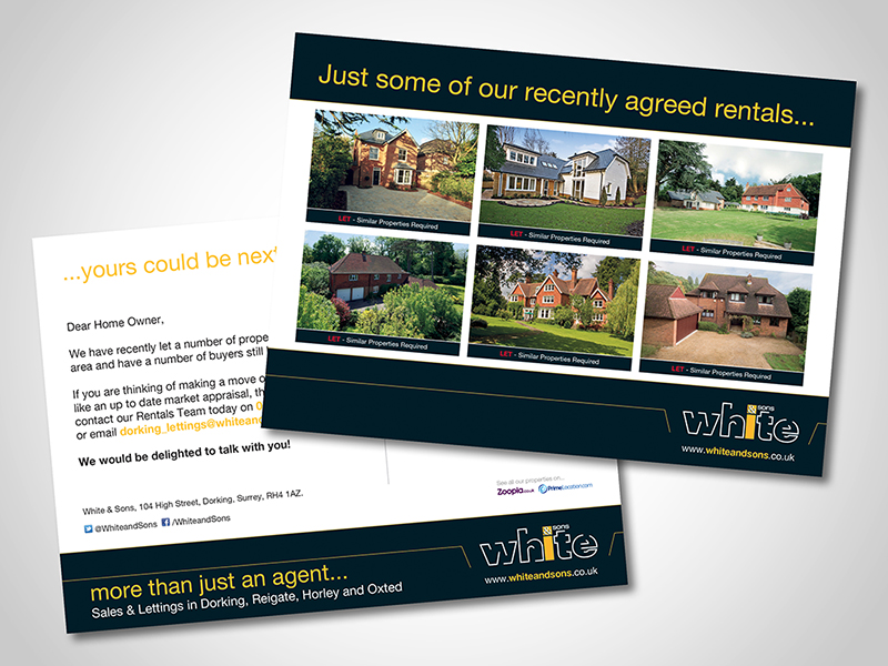 White and Sons 'Recent Rentals' Direct Mail Design and Marketing
