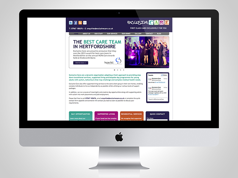Exclusive Care Website Design